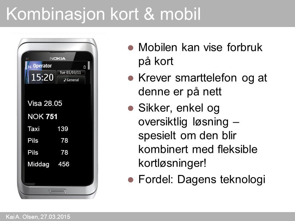 Kai A. Olsen, 27.03.2015 44 Kombinasjon kort & mobil Mobilen kan vise forbruk på kort Krever smarttelefon og at denne er på nett Sikker, enkel og over