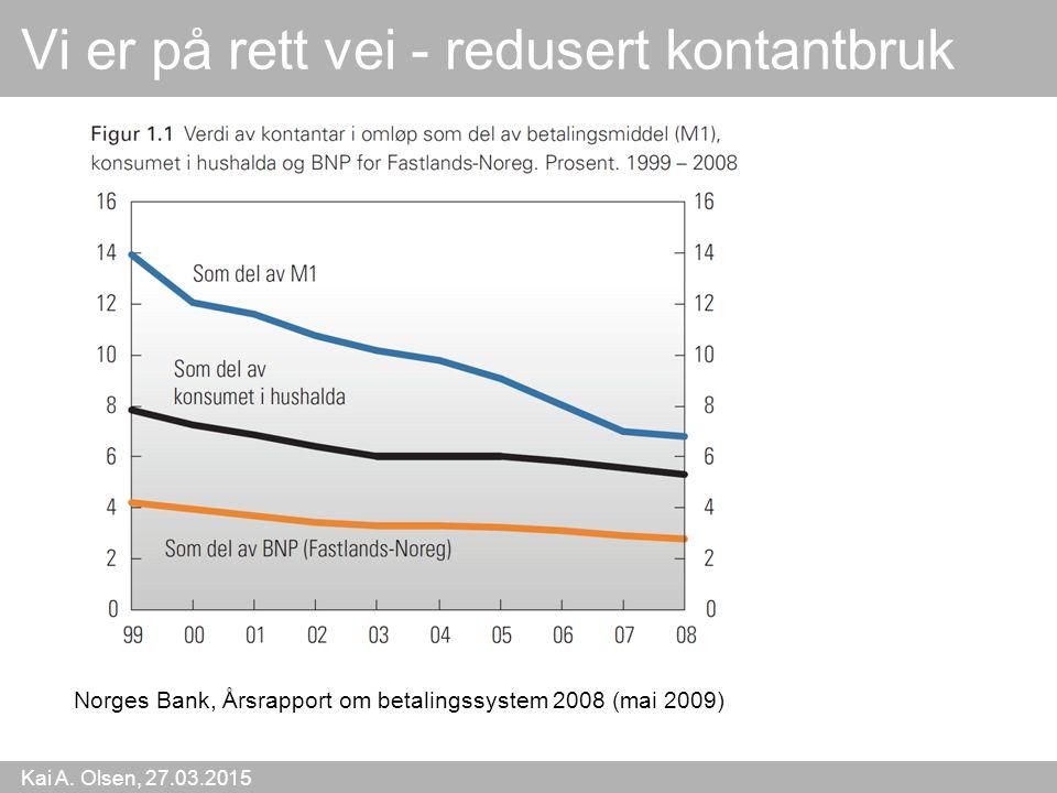 Kai A. Olsen, 27.03.2015 46 Vi er på rett vei - redusert kontantbruk Norges Bank, Årsrapport om betalingssystem 2008 (mai 2009)