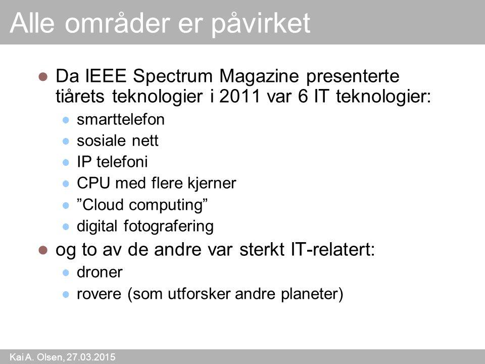 Kai A. Olsen, 27.03.2015 5 Alle områder er påvirket Da IEEE Spectrum Magazine presenterte tiårets teknologier i 2011 var 6 IT teknologier: smarttelefo