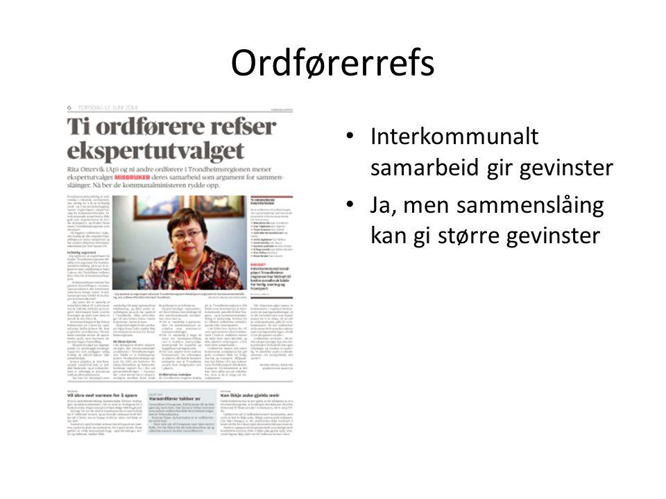 Ordførerrefs Interkommunalt samarbeid gir gevinster Ja, men sammenslåing kan gi større gevinster