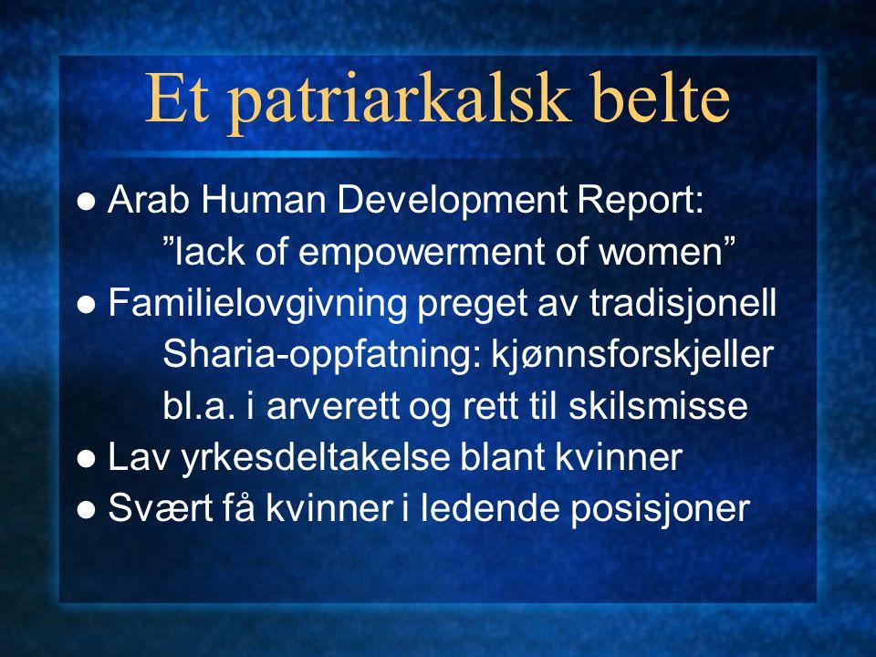 Et patriarkalsk belte Arab Human Development Report: lack of empowerment of women Familielovgivning preget av tradisjonell Sharia-oppfatning: kjønnsforskjeller bl.a.
