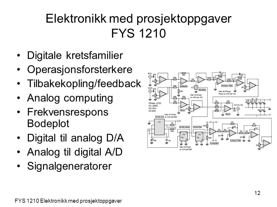 12 Digitale kretsfamilier Operasjonsforsterkere Tilbakekopling/feedback Analog computing Frekvensrespons Bodeplot Digital til analog D/A Analog til di