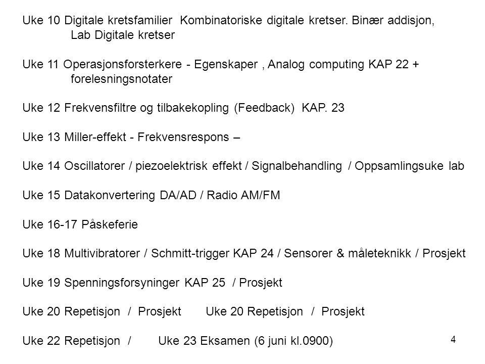 4 Uke 10 Digitale kretsfamilier Kombinatoriske digitale kretser. Binær addisjon, Lab Digitale kretser Uke 11 Operasjonsforsterkere - Egenskaper, Analo