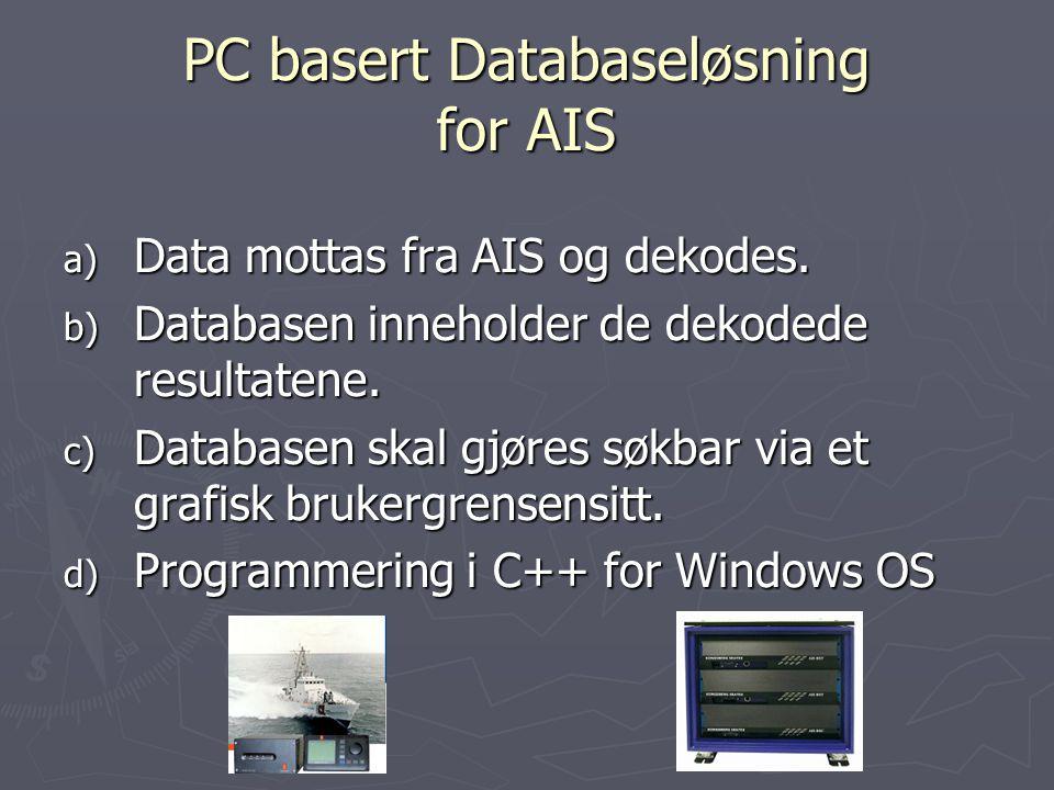 PC basert Databaseløsning for AIS a) Data mottas fra AIS og dekodes. b) Databasen inneholder de dekodede resultatene. c) Databasen skal gjøres søkbar