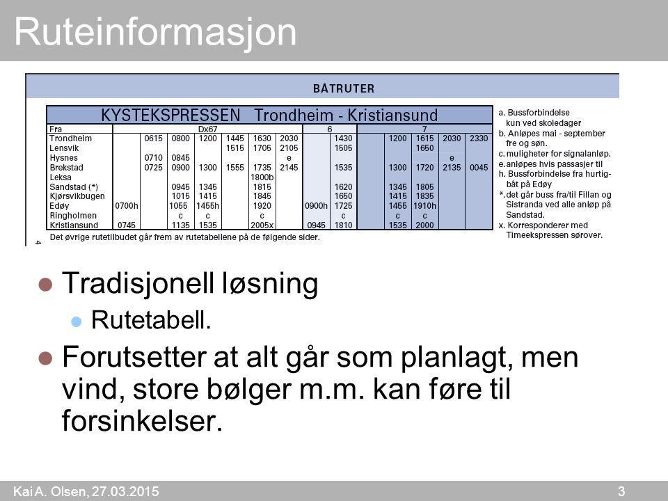 Kai A. Olsen, 27.03.2015 3 Ruteinformasjon Tradisjonell løsning Rutetabell. Forutsetter at alt går som planlagt, men vind, store bølger m.m. kan føre