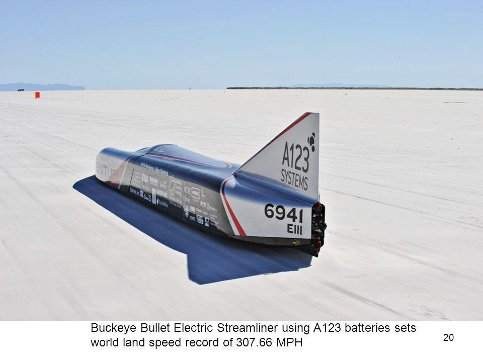 20 Buckeye Bullet Electric Streamliner using A123 batteries sets world land speed record of 307.66 MPH