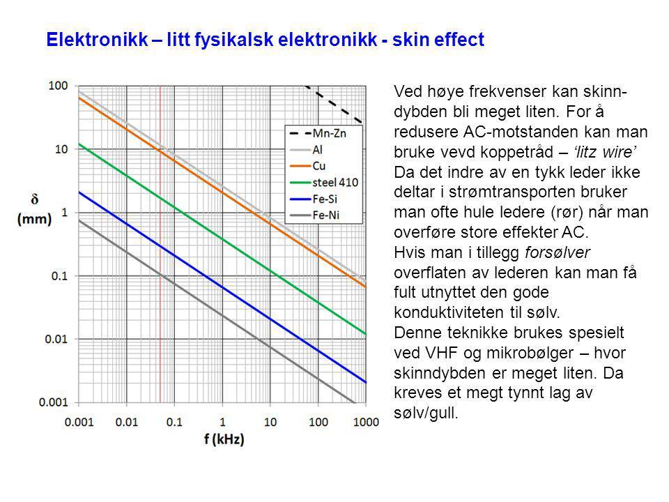 Elektronikk – litt fysikalsk elektronikk - skin effect Ved høye frekvenser kan skinn- dybden bli meget liten. For å redusere AC-motstanden kan man bru
