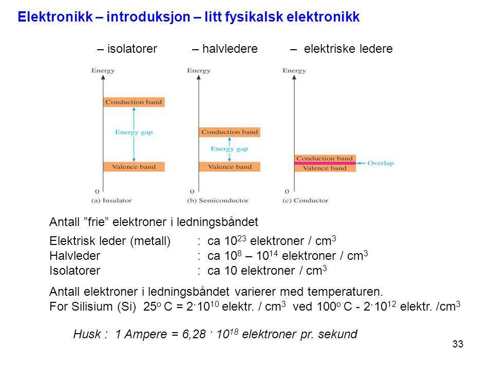 33 Husk : 1 Ampere = 6,28 · 10 18 elektroner pr. sekund Elektrisk leder (metall) : ca 10 23 elektroner / cm 3 Halvleder : ca 10 8 – 10 14 elektroner /