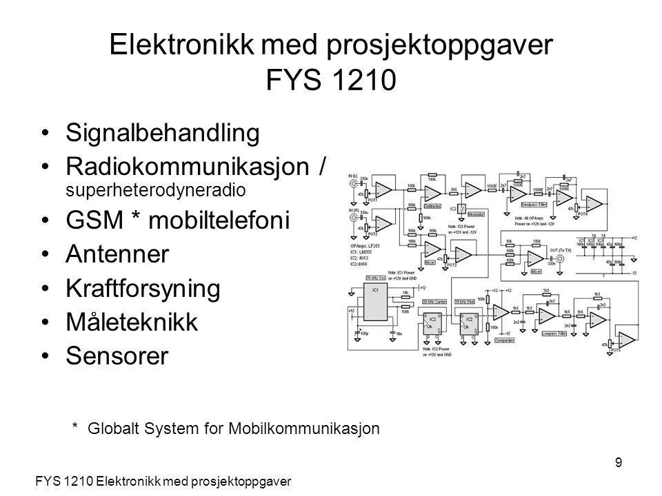 9 Signalbehandling Radiokommunikasjon / superheterodyneradio GSM * mobiltelefoni Antenner Kraftforsyning Måleteknikk Sensorer FYS 1210 Elektronikk med prosjektoppgaver Elektronikk med prosjektoppgaver FYS 1210 * Globalt System for Mobilkommunikasjon