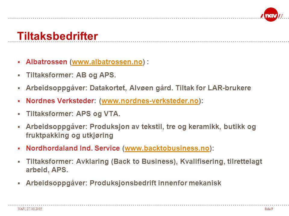 NAV, 27.03.2015Side 10 Tiltaksbedrifter  Breistein Industrier: (www.breisteinindustrier.no) :www.breisteinindustrier.no  Tiltaksformer: VTA og APS.