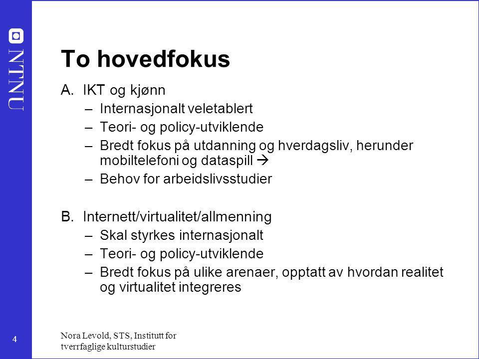 5 Nora Levold, STS, Institutt for tverrfaglige kulturstudier Ad A - IKT og kjønn: 1.