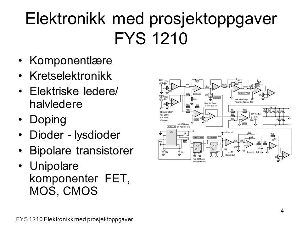 5 Digitale kretsfamilier Operasjonsforsterkere Tilbakekopling Analog computing Frekvensrespons Bodeplot Digital til analog D/A Analog til digital A/D Signalgeneratorer FYS 1210 Elektronikk med prosjektoppgaver Elektronikk med prosjektoppgaver FYS 1210
