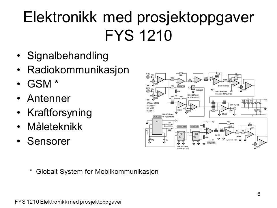 6 Signalbehandling Radiokommunikasjon GSM * Antenner Kraftforsyning Måleteknikk Sensorer FYS 1210 Elektronikk med prosjektoppgaver Elektronikk med pro
