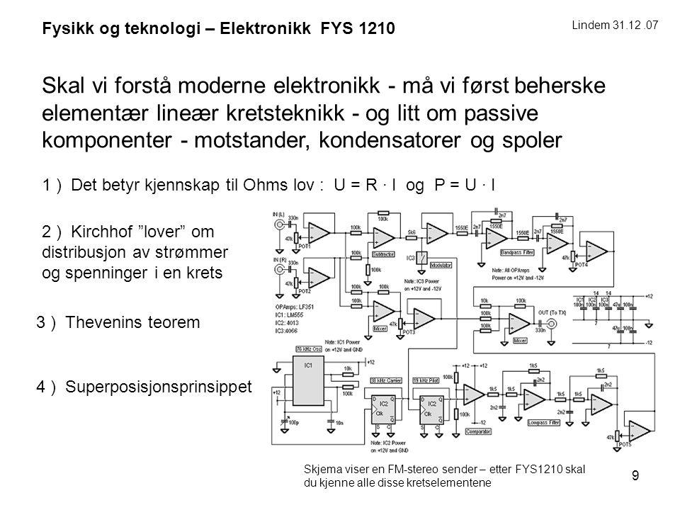 9 Fysikk og teknologi – Elektronikk FYS 1210 Skal vi forstå moderne elektronikk - må vi først beherske elementær lineær kretsteknikk - og litt om pass