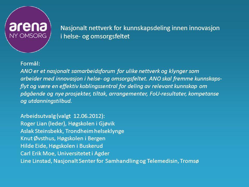 Nasjonalt nettverk for kunnskapsdeling innen innovasjon i helse- og omsorgsfeltet Formål: ANO er et nasjonalt samarbeidsforum for ulike nettverk og klynger som arbeider med innovasjon i helse- og omsorgsfeltet.