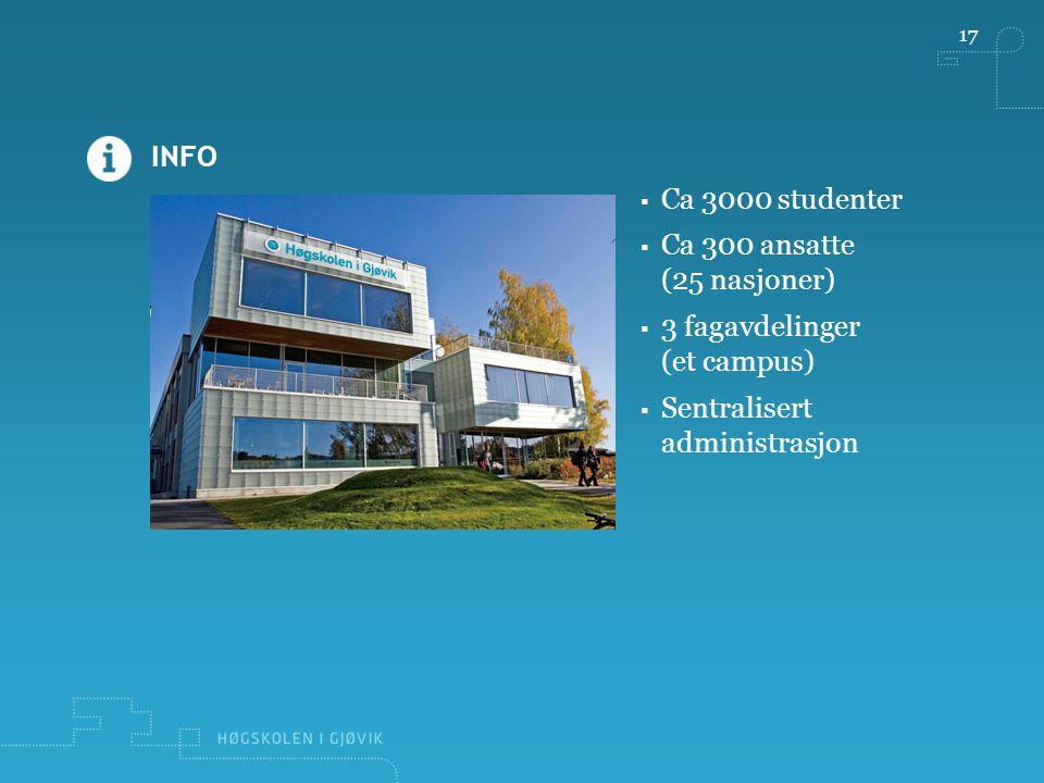 INFO 17  Ca 3000 studenter  Ca 300 ansatte (25 nasjoner)  3 fagavdelinger (et campus)  Sentralisert administrasjon