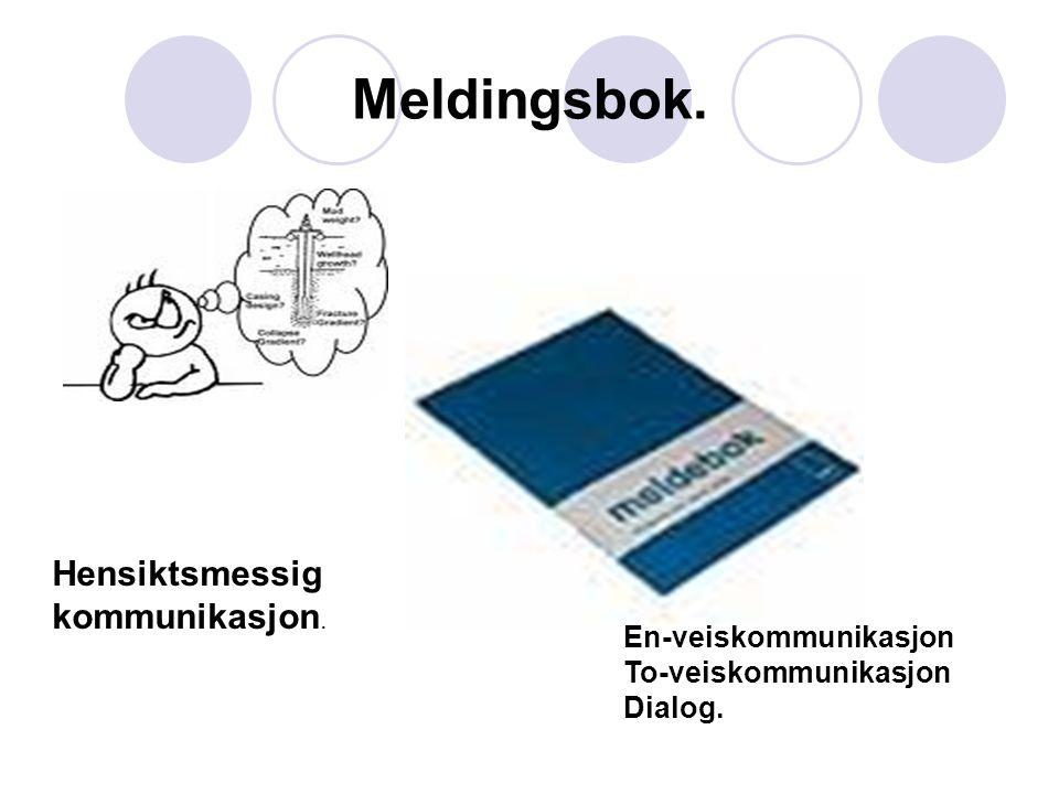 Meldingsbok. Hensiktsmessig kommunikasjon. En-veiskommunikasjon To-veiskommunikasjon Dialog.