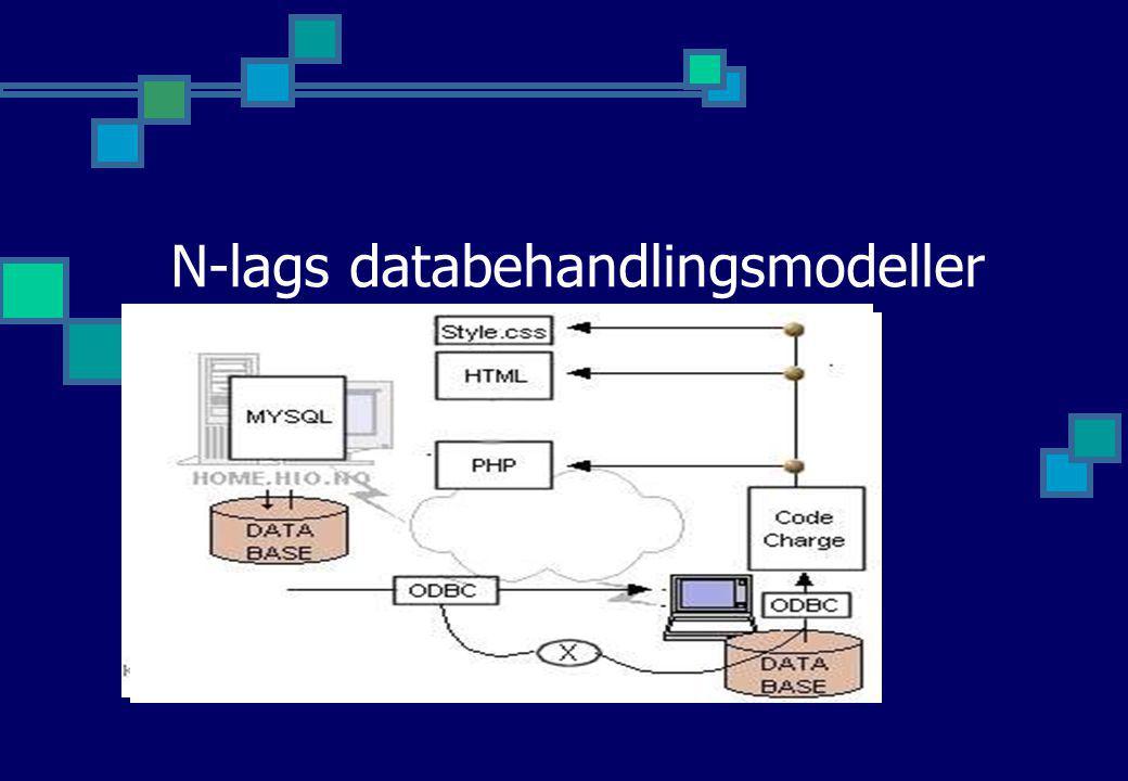 N-lags databehandlingsmodeller Klient-Tjener (2-lag) WWW Databaser Strømmet format Klient-Business Logic-Tjener (3-lag) N-lags: Internet -> Web Servic