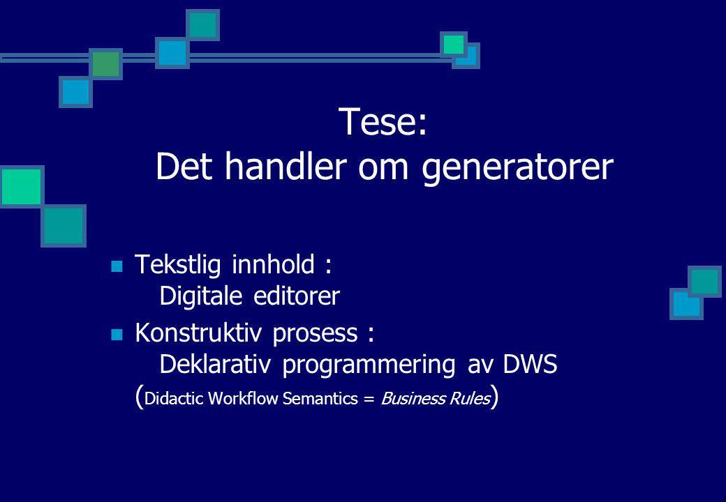 Tese: Det handler om generatorer Tekstlig innhold : Digitale editorer Konstruktiv prosess : Deklarativ programmering av DWS ( Didactic Workflow Semant
