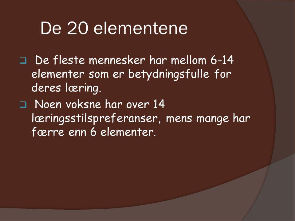 De 20 elementene  De fleste mennesker har mellom 6-14 elementer som er betydningsfulle for deres læring.