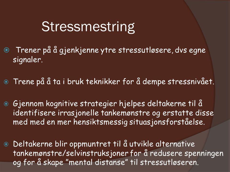 Stressmestring  Trener på å gjenkjenne ytre stressutløsere, dvs egne signaler.