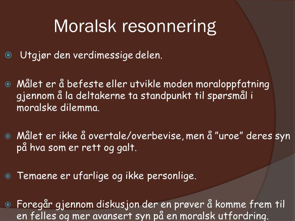 Moralsk resonnering  Utgjør den verdimessige delen.