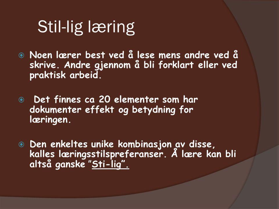 Stil-lig læring  Noen lærer best ved å lese mens andre ved å skrive.