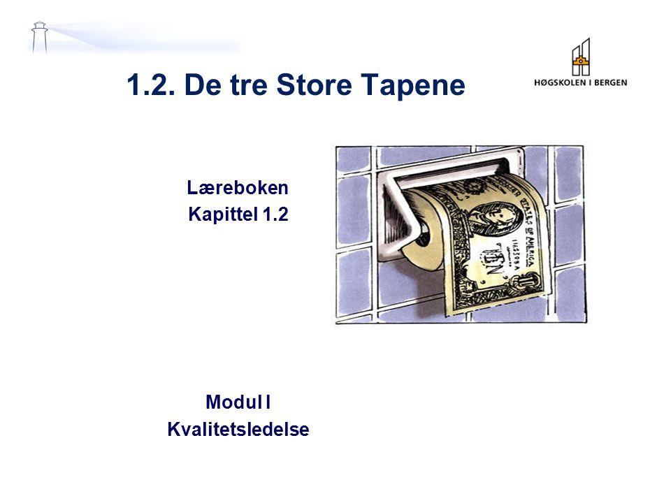 1.2. De tre Store Tapene Læreboken Kapittel 1.2 Modul I Kvalitetsledelse