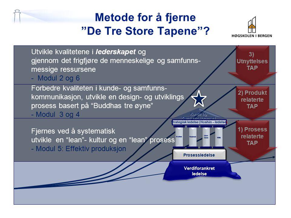 """Metode for å fjerne """"De Tre Store Tapene""""? 1) Prosess relaterte TAP 1) Prosess relaterte TAP 2) Produkt relaterte TAP 2) Produkt relaterte TAP 3) Utny"""