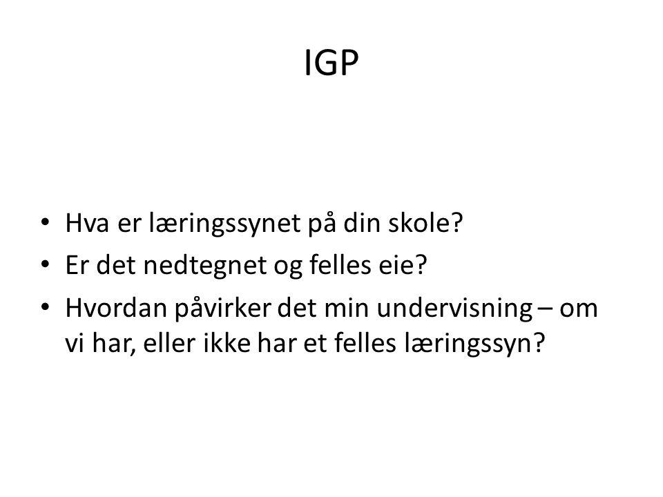 IGP Hva er læringssynet på din skole.Er det nedtegnet og felles eie.