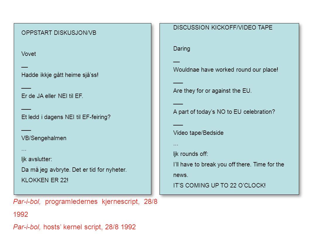 Par-i-bol, programledernes kjernescript, 28/8 1992 Par-i-bol, hosts' kernel script, 28/8 1992 OPPSTART DISKUSJON/VB Vovet __ Hadde ikkje gått heime sjå'ss.