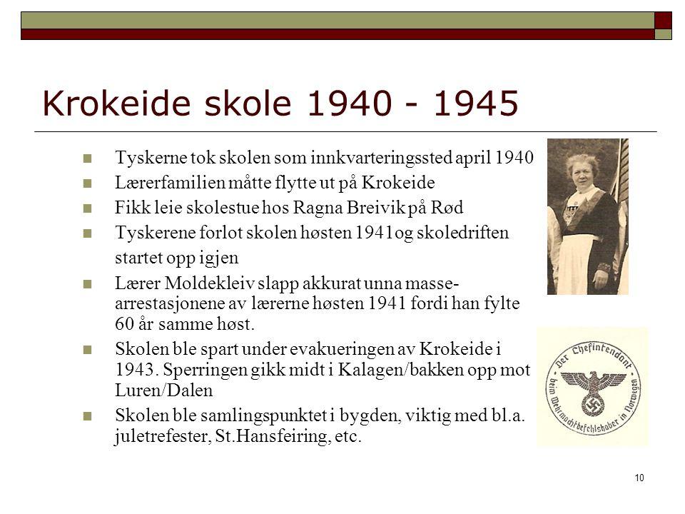 10 Krokeide skole 1940 - 1945 Tyskerne tok skolen som innkvarteringssted april 1940 Lærerfamilien måtte flytte ut på Krokeide Fikk leie skolestue hos