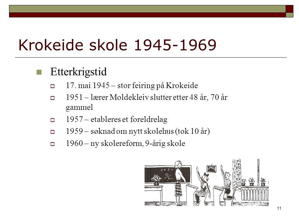 11 Krokeide skole 1945-1969 Etterkrigstid  17. mai 1945 – stor feiring på Krokeide  1951 – lærer Moldekleiv slutter etter 48 år, 70 år gammel  1957