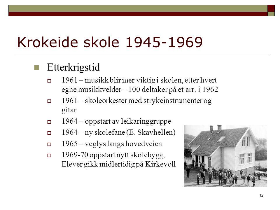 12 Krokeide skole 1945-1969 Etterkrigstid  1961 – musikk blir mer viktig i skolen, etter hvert egne musikkvelder – 100 deltaker på et arr.