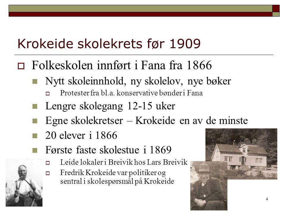 4 Krokeide skolekrets før 1909  Folkeskolen innført i Fana fra 1866 Nytt skoleinnhold, ny skolelov, nye bøker  Protester fra bl.a. konservative bønd