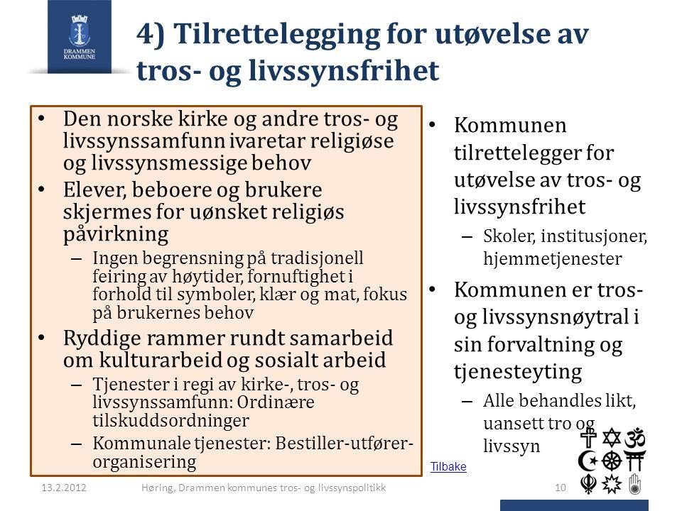 4) Tilrettelegging for utøvelse av tros- og livssynsfrihet Den norske kirke og andre tros- og livssynssamfunn ivaretar religiøse og livssynsmessige be