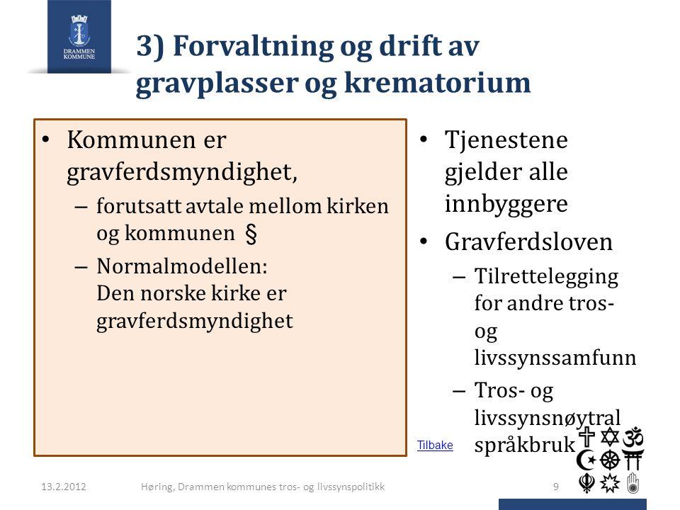 3) Forvaltning og drift av gravplasser og krematorium Kommunen er gravferdsmyndighet, – forutsatt avtale mellom kirken og kommunen § – Normalmodellen: