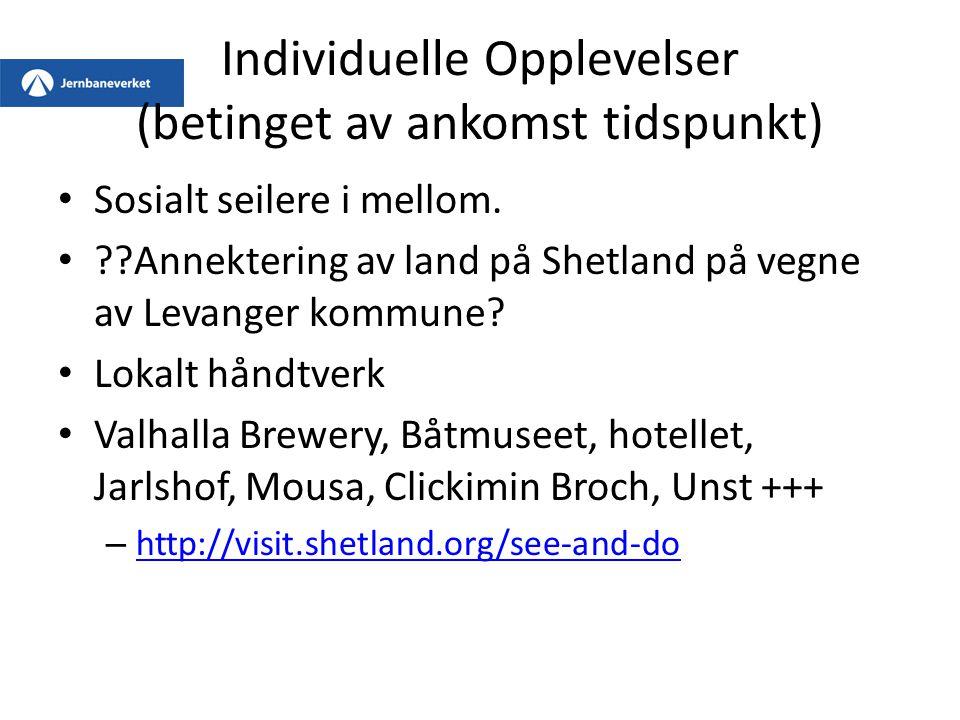 Individuelle Opplevelser (betinget av ankomst tidspunkt) Sosialt seilere i mellom. ??Annektering av land på Shetland på vegne av Levanger kommune? Lok