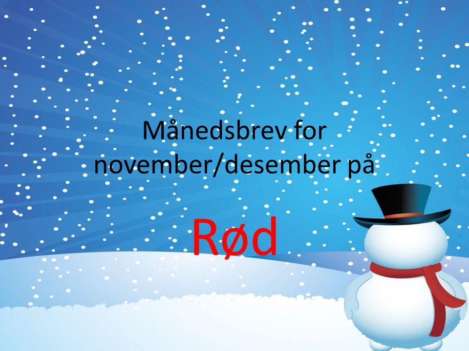 Månedsbrev for november/desember på Rød