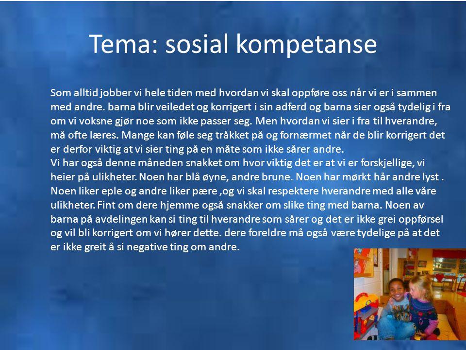 Tema: sosial kompetanse Som alltid jobber vi hele tiden med hvordan vi skal oppføre oss når vi er i sammen med andre. barna blir veiledet og korrigert