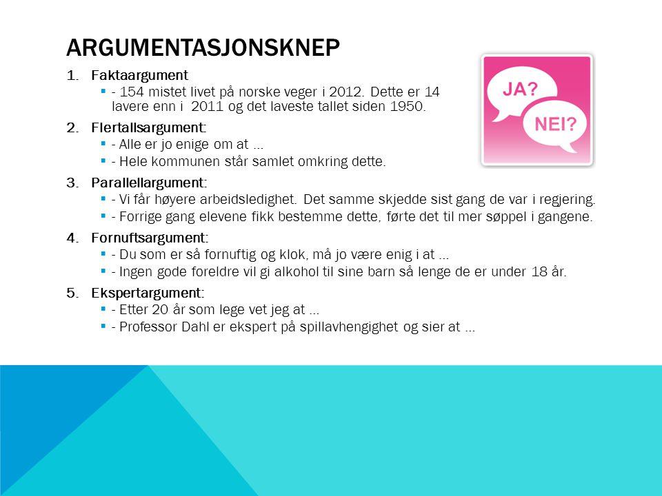 ARGUMENTASJONSKNEP 1.Faktaargument  - 154 mistet livet på norske veger i 2012.