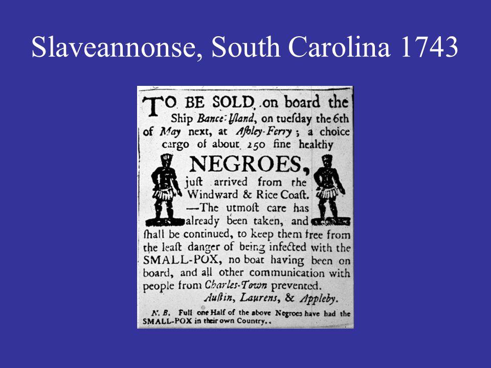 Slaveannonse, South Carolina 1743