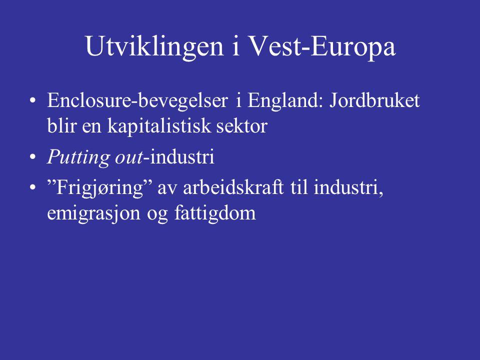 """Utviklingen i Vest-Europa Enclosure-bevegelser i England: Jordbruket blir en kapitalistisk sektor Putting out-industri """"Frigjøring"""" av arbeidskraft ti"""