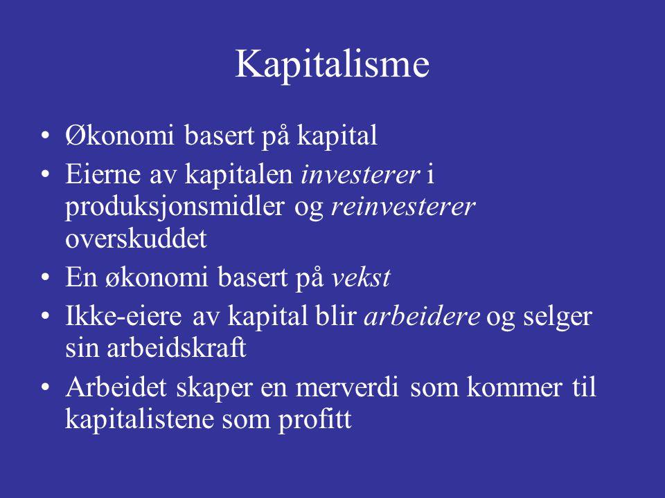 Kapitalisme Økonomi basert på kapital Eierne av kapitalen investerer i produksjonsmidler og reinvesterer overskuddet En økonomi basert på vekst Ikke-e