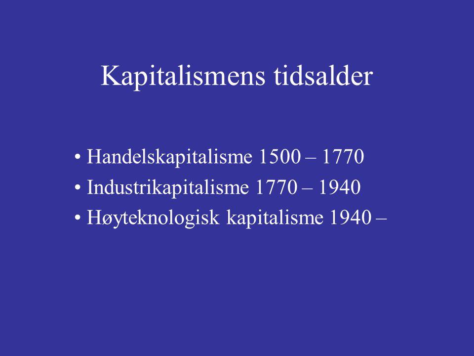 Handelskapitalisme 1500 – 1770 Industrikapitalisme 1770 – 1940 Høyteknologisk kapitalisme 1940 – Kapitalismens tidsalder
