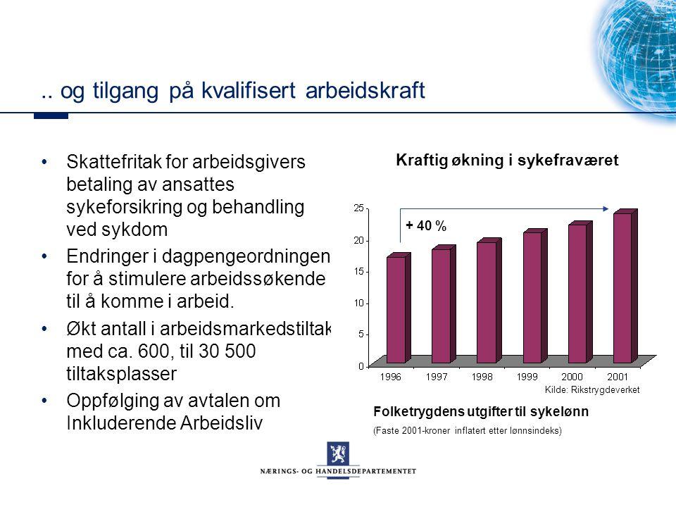 .. og tilgang på kvalifisert arbeidskraft Skattefritak for arbeidsgivers betaling av ansattes sykeforsikring og behandling ved sykdom Endringer i dagp