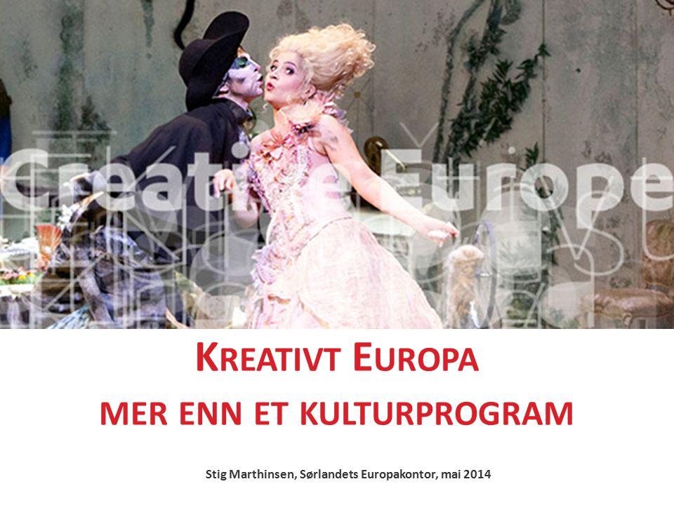 K REATIVT E UROPA MER ENN ET KULTURPROGRAM Stig Marthinsen, Sørlandets Europakontor, mai 2014