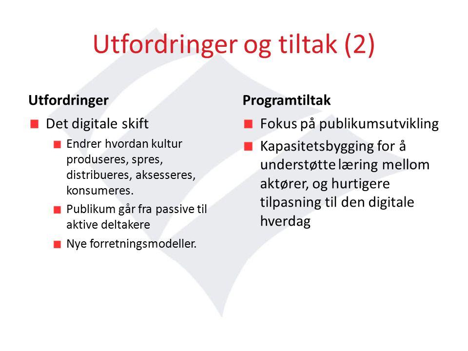 Utfordringer og tiltak (2) Utfordringer Det digitale skift Endrer hvordan kultur produseres, spres, distribueres, aksesseres, konsumeres.