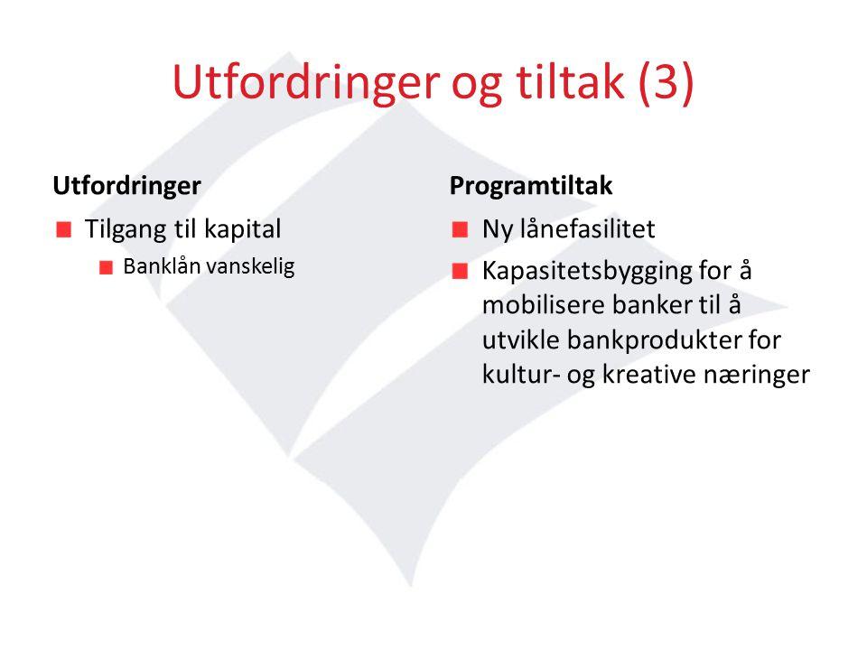 Utfordringer og tiltak (3) Utfordringer Tilgang til kapital Banklån vanskelig Programtiltak Ny lånefasilitet Kapasitetsbygging for å mobilisere banker til å utvikle bankprodukter for kultur- og kreative næringer