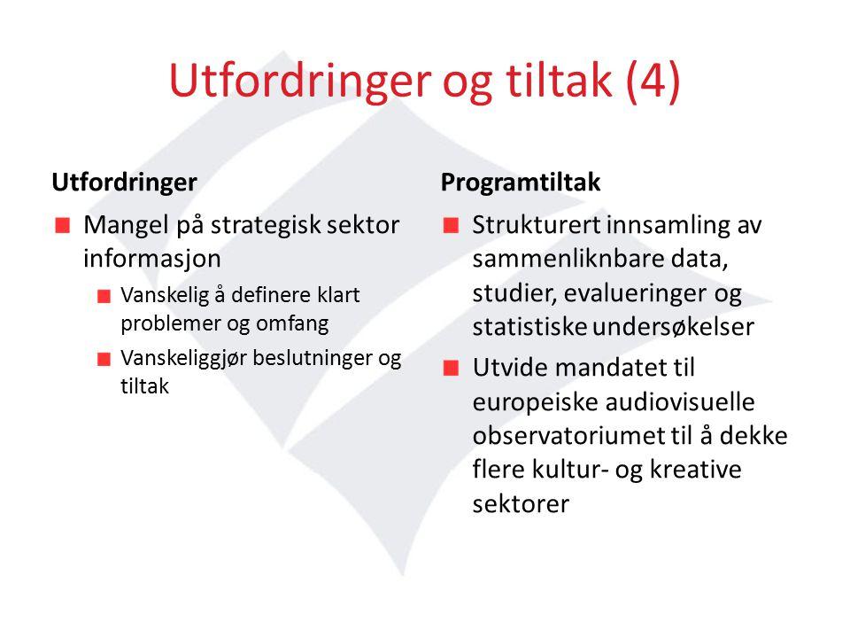 Utfordringer og tiltak (4) Utfordringer Mangel på strategisk sektor informasjon Vanskelig å definere klart problemer og omfang Vanskeliggjør beslutninger og tiltak Programtiltak Strukturert innsamling av sammenliknbare data, studier, evalueringer og statistiske undersøkelser Utvide mandatet til europeiske audiovisuelle observatoriumet til å dekke flere kultur- og kreative sektorer